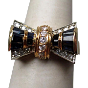 Stunning 18k Gold Sapphire and Diamond Art Dec Bow Ring