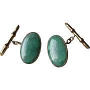 Stunning 14k Gold and Jade Cuff LInks