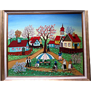 "Original Oil Painting by ""A Kowalski (1926-)"" - Village Scene"