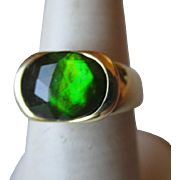 Gorgeous 14k Gold and Black Opal Ring