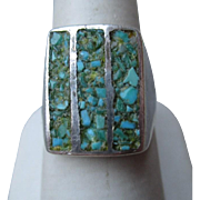 Fabulous Sand Cast Silver and Turquoise Ring