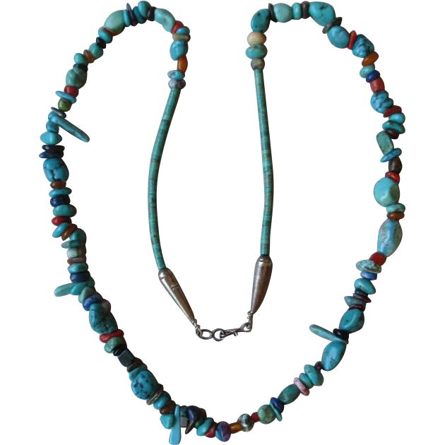 Great Vintage Tuquoise, Lapis, and Coral Nugget Necklace