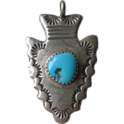Great Vintage Silver and Turquoise Navajo Arrowhead Pendant