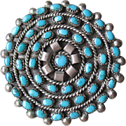Fabulous Silver and Snake Eye Turquoise Roung Pin