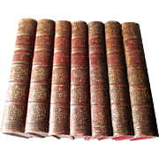 "1858 Seven Volume Leather Bound - ""Queens of Scotland"""