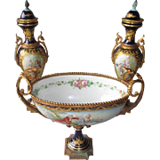 "Stunning Sevres ""Chateau Longpre'"" Hand Painted Garniture Set"