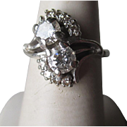 Gorgeous 14k White Gold and Diamond Ring - Two 0.5ct Diamonds