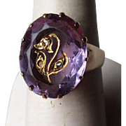 Stunning 14k Gold and Amethyst Ring with Gold Engraving