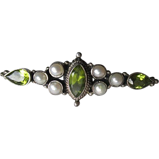 Fabulous Sterling Silver and Peridot with Pearl Bar Pin