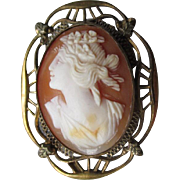 Fabulous Edwardian Cameo Filigree Pin