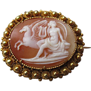 18k Gold and Shell Cameo - Greek Mythology with Pegasus