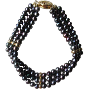 Gorgeous Black Freshwater Pearl Bracelet with 14k Gold Clasp