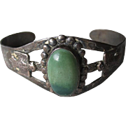 "Fabulous Vintage ""Fred Harvey"" Style Navajo Sterling Turquoise Bracelet"