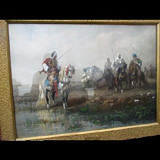 "Antique ""Christian Adolph Schreyer (1828-1899)"" Photogravure with Gouache"