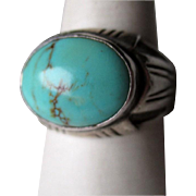 Large Men's Sterling Silver and Turquoise Ring
