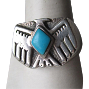 "Great Sterling Silver and Turquoise ""Thunderbird"" Men's Ring"