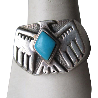 """Great Sterling Silver and Turquoise """"Thunderbird"""" Men's Ring"""