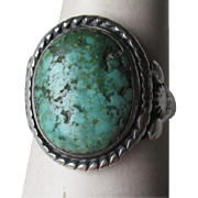 Fabulous Early Sterling Silver and Turquoise Ring