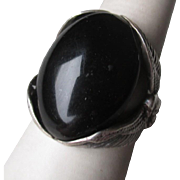 Stunning Sterling Silver and Black Onyx Men's Ring with Eagles