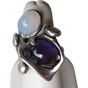 Gorgeous Sterling Silver and Amethyst with Moonstone Ring