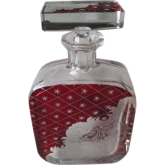 Stunning Bohemian Ruby Flashed Decanter