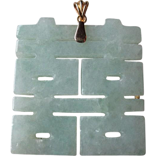 Green Jade Pendant with 14k Gold Bail