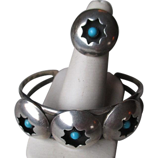 """Unmarked Silver and Turquoise """"Shadowbox"""" Bracelet and Ring"""