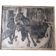 "Signed Drypoint Etching by ""Jan Altink (1885-1971)"" - Sneeuwruimers Ingroningen"