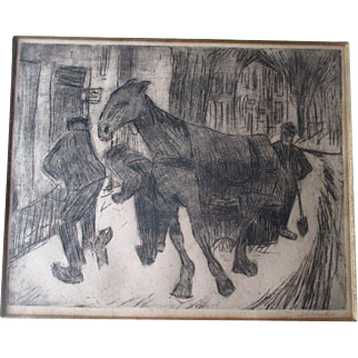 """Signed Drypoint Etching by """"Jan Altink (1885-1971)"""" - Sneeuwruimers Ingroningen"""