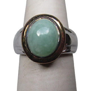Wonderful Sterling Silver and Green Jade Ring.