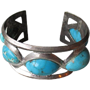 Stunning Sand Cast Turquoise Cuff Style Bracelet