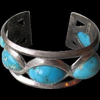 Stunning Sand Cast Turquoise Cuff Style Bracelet