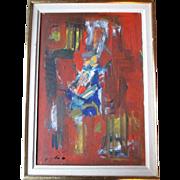 "Original Abstract Oil Painting by Israel Artist ""Sima Slonim (1910-1999)"""