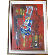 "Original Abstract Oil Painting by Israel Artist ""Sima Slonim (1910-1999)"""