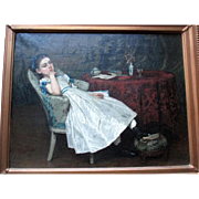 "Charming ""Adolph Artz (1837-1890)"" Original Oil Painting - The Pretty Girl"