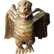 Carved Chinese Stone Bat Figure - Auspicious for Wealth