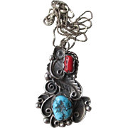 Unmarked Silver and Turquoise with Coral Pendant - Signed