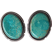 Sterling and Turquoise Navajo Earrings - Will Denetdale