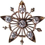 Beautiful 14k Gold and Diamond Star Pin / Pendant