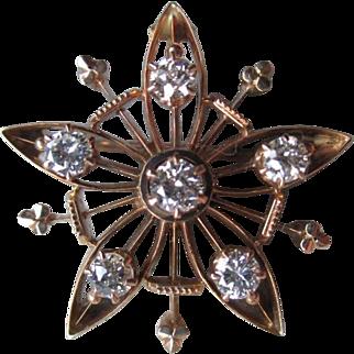 Beautiful 14k Gold and Diamond Star Pin / Pendant