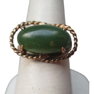 Fun 14k Gold and Green Jade Ring
