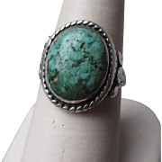 Vintage Unmarked Silver and Turquoise Ring