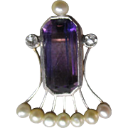 Gorgeous 14k Gold and Amethyst Pendant with Seed Pearls and Diamonds