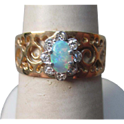 Gorgeous 10k Gold and Opal with Diamonds Filigree Ring