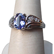 Beautiful 10k Gold and Tanzanite with Diamonds Ring