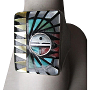 Sterling Silver and INlaid Turquoise, Coral Zuni Ring - Signed