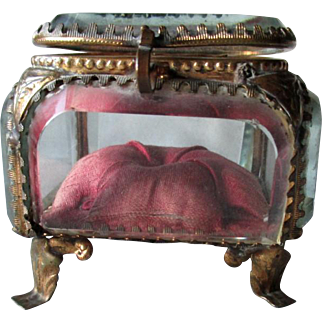 Antique French Bronze and Beveled Glass Jewelry Casket or Vitrine