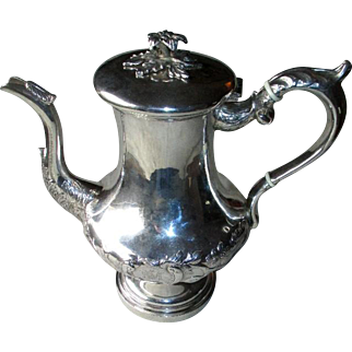 """Early 1800's """"Thomas Whartenby"""" Coin Silver Repousse Coffee Pot"""