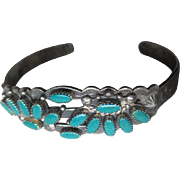 Sterling Silver and Turquoise Stamped Bracelet