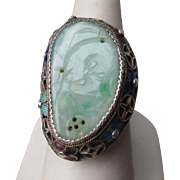 Stunning Vintage Chinese Jadite and Enamel Ring